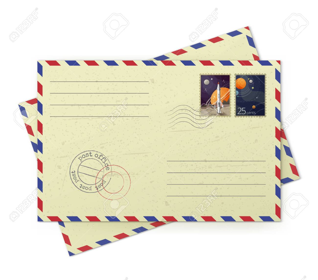 Vector illustrator of vintage airmail envelopes with postal stamps isolated on white background - 121193638