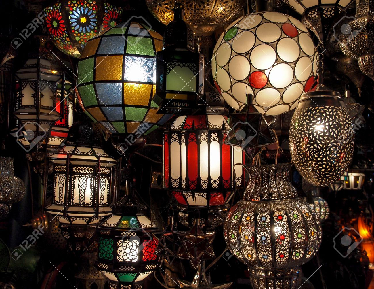typical moroccan lamps in a store in marrakesh souk in morocco stock photo