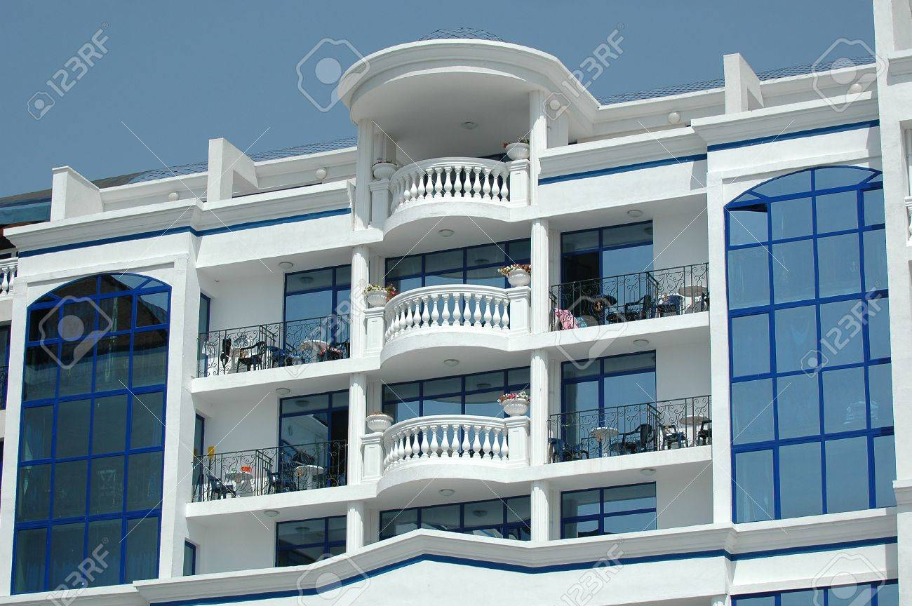Hotel balcony and clear sky Stock Photo - 557204