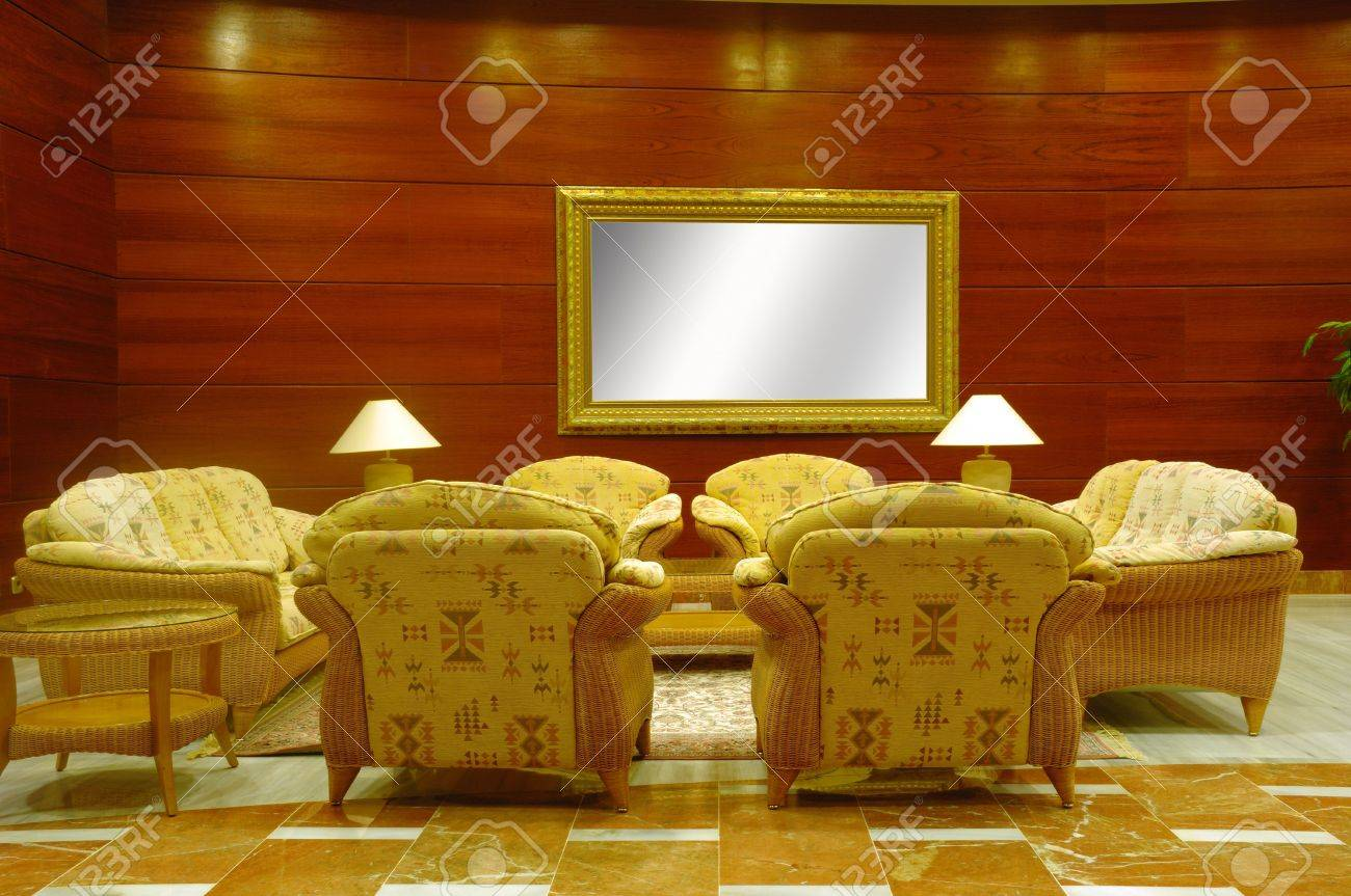 Hotel lobby whith table, chairs and sofas Stock Photo - 875741