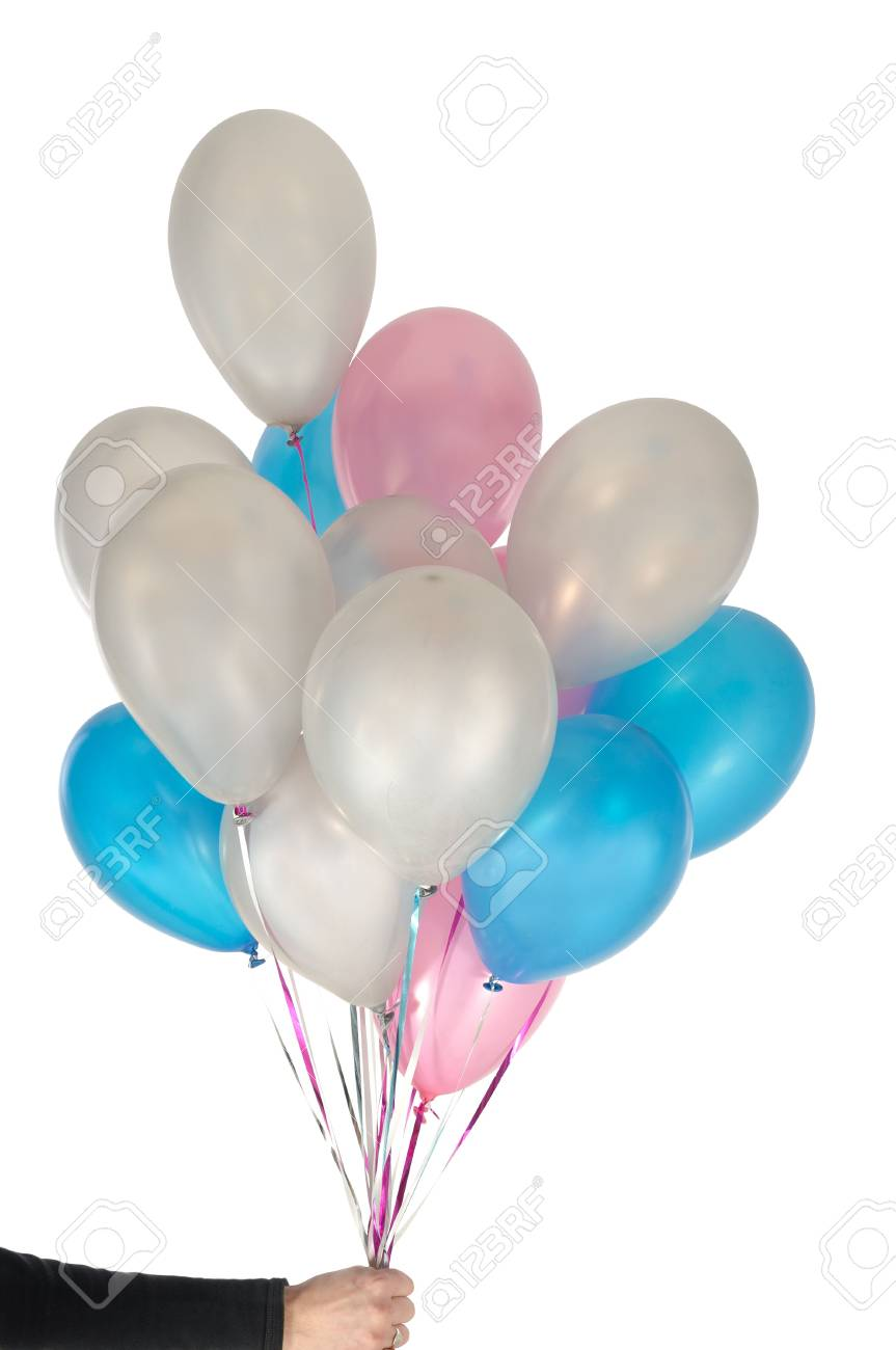 Hand is holding many ballons. On clean white background. Stock Photo - 918603