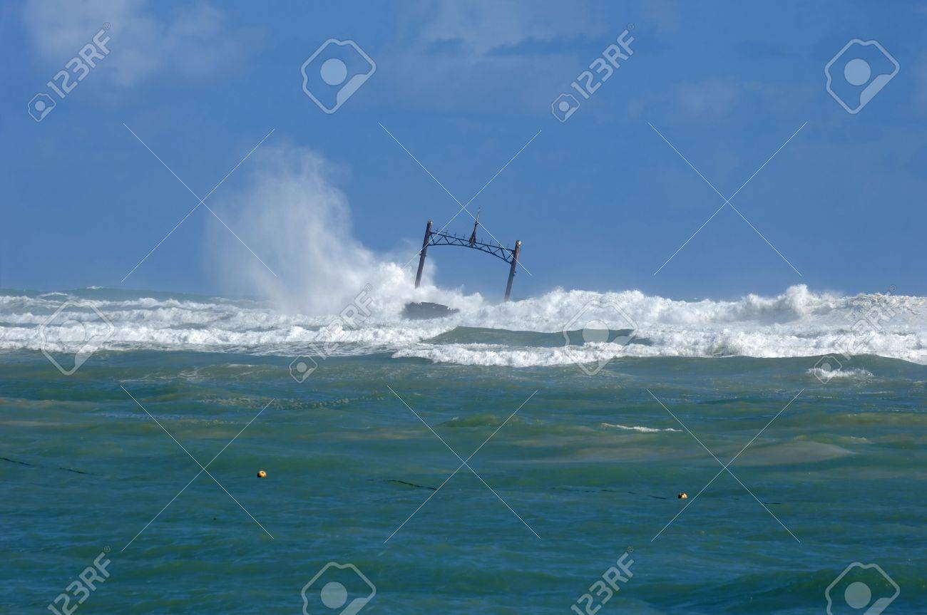 Sunken ship wreck and stormy sea with big waves Stock Photo - 3020875