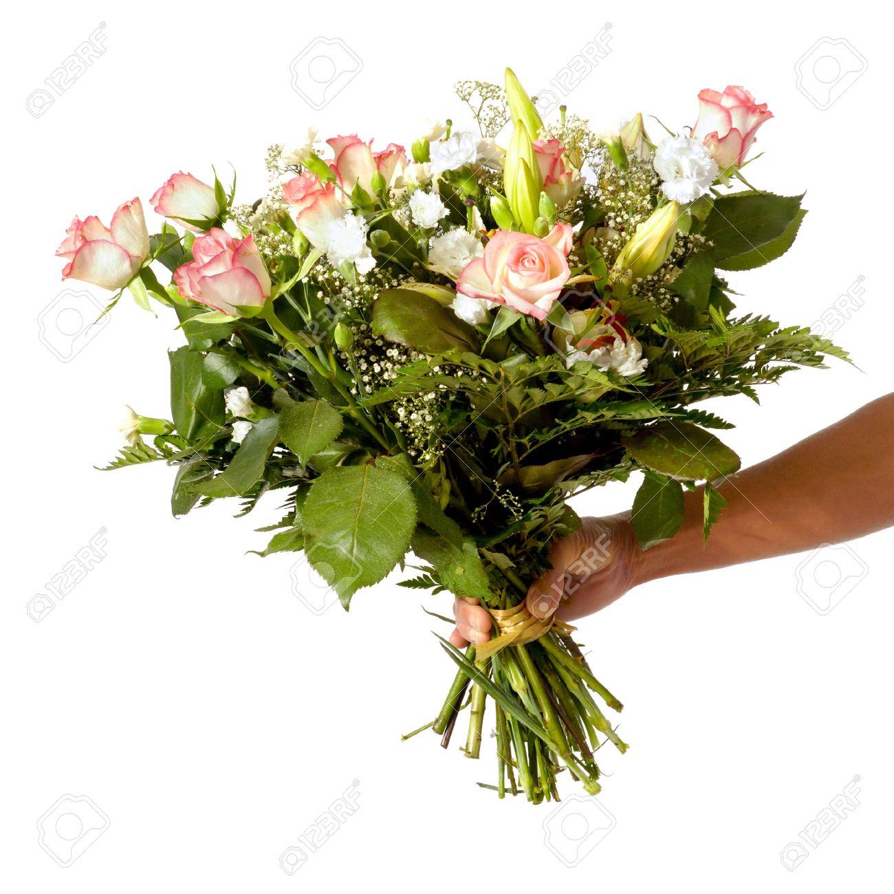 Un Coup De Main De Teinter Tient Un Bouquet De Fleurs Isolees Sur