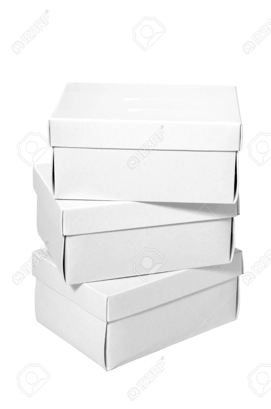 A pile of white boxes isolated on a clean white background. Stock Photo - 7740993