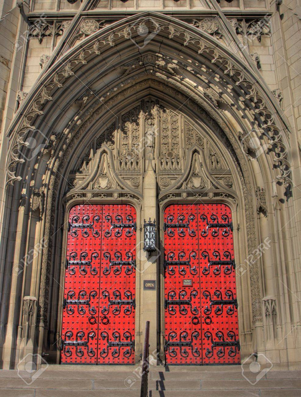 Big red doors for a limestone gothic church Stock Photo - 6997625 & Big Red Doors For A Limestone Gothic Church Stock Photo Picture ... Pezcame.Com