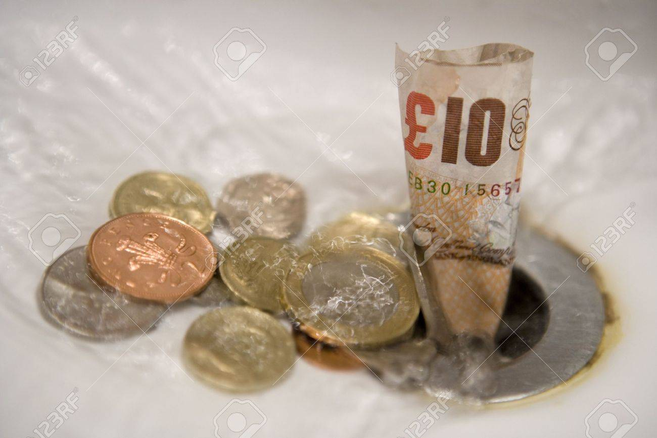 English money going down the drain Stock Photo - 8072381