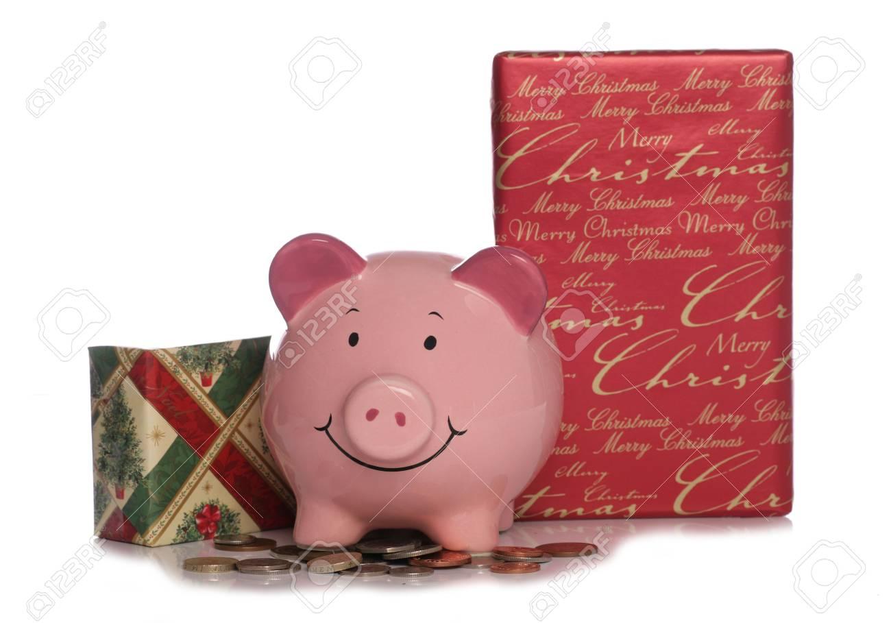 Sparschwein Mit Weihnachten Präsentiert Cutout Studio Lizenzfreie ...
