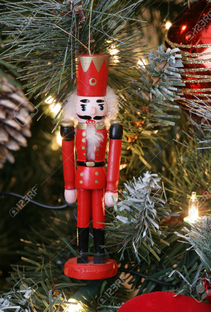 Nutcracker Christmas Decoration On Christmas Tree Stock Photo ...