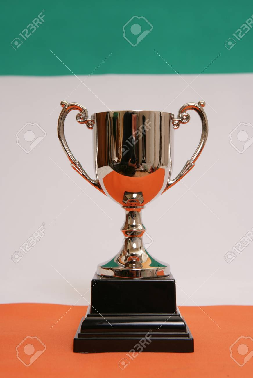 Trophy on an irish flag Stock Photo - 11296906