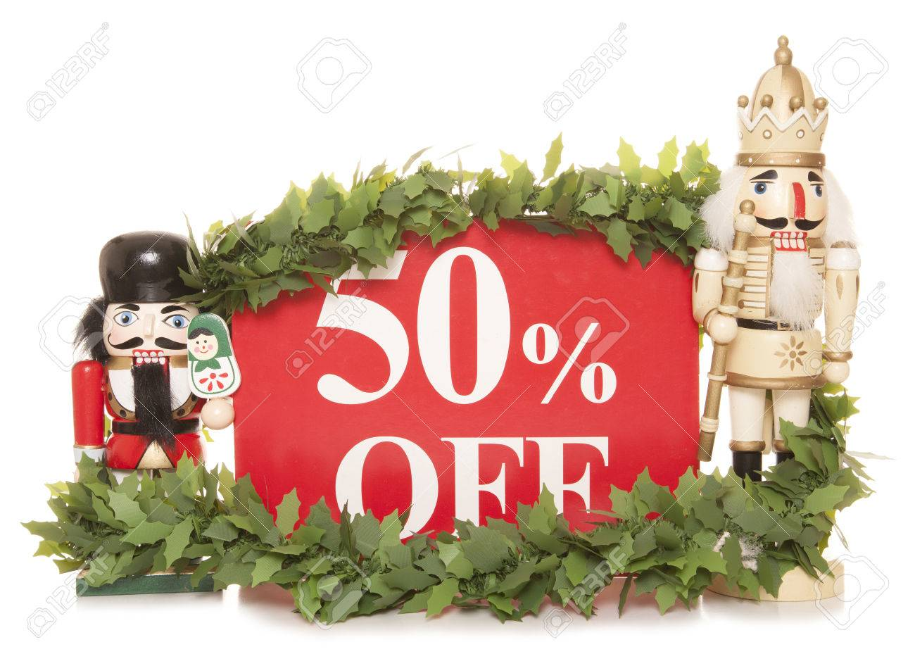 50 off christmas sale sign and nutcracker ornaments cutout stock