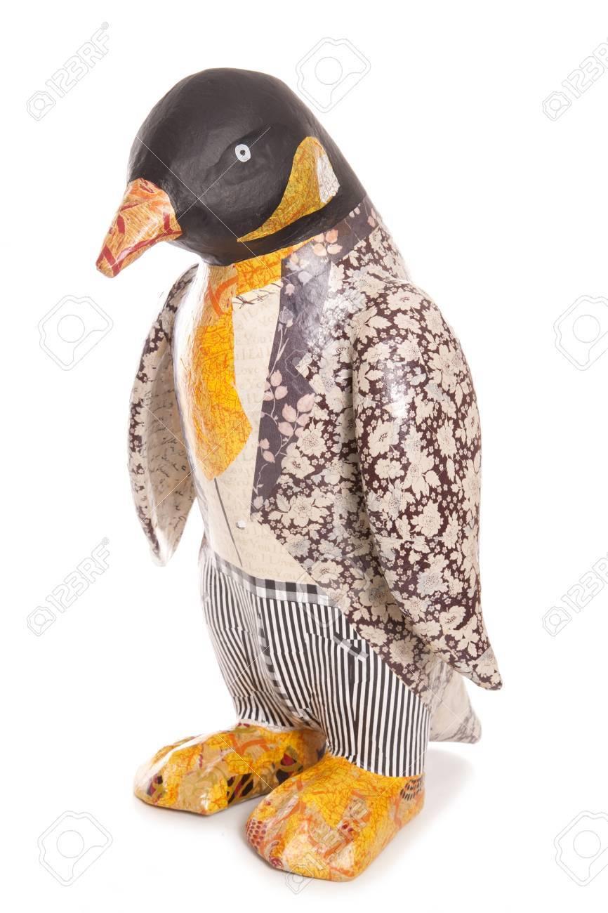 Decopage Penguin In Floral Wedding Suit Cutout Stock Photo