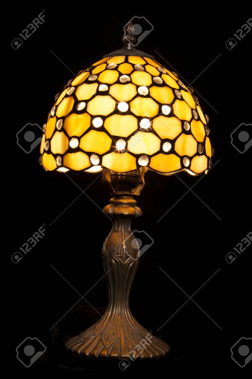 Vintage Style Table Lamp Black Background Stock Photo Picture And