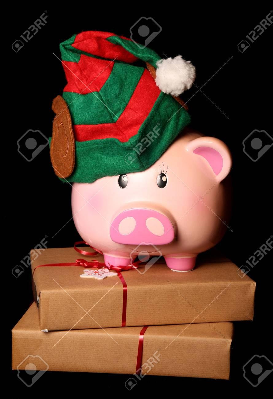 Sparen Für Weihnachten Sparschwein Elf Ausschnitt Lizenzfreie Fotos ...