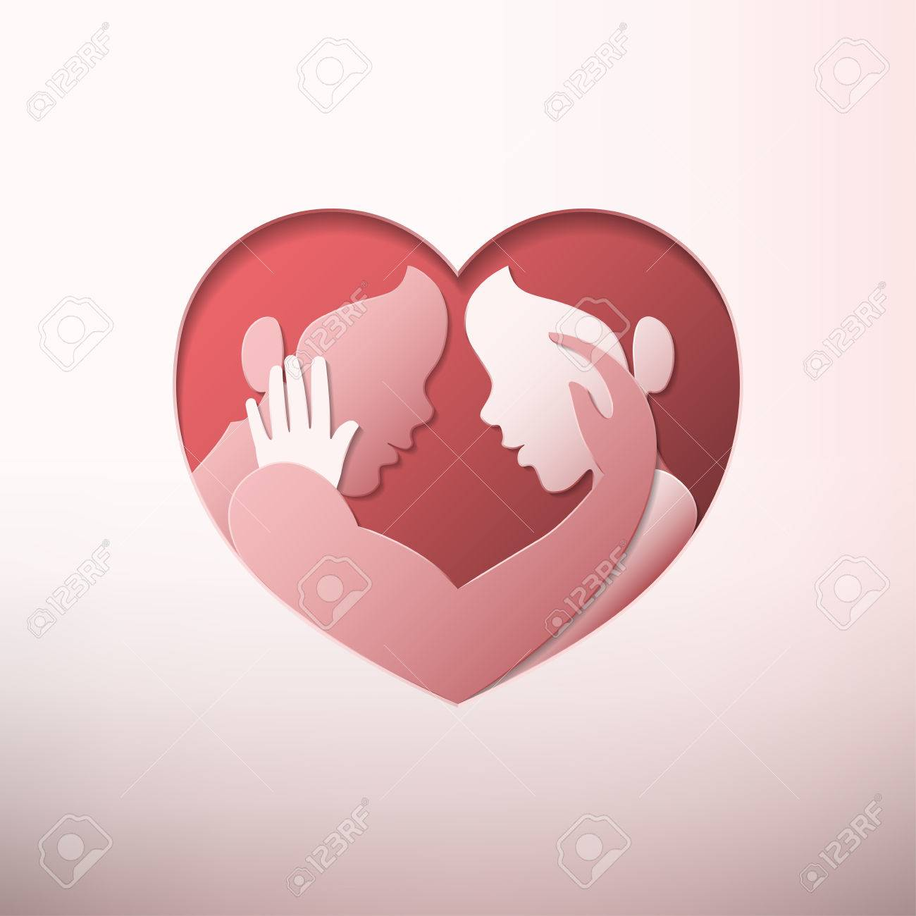 Glücklicher Valentinstag, Mann Und Frau, Die Sich In Herzförmigem Rahmen Im  Papierkunststil Streicheln Standard