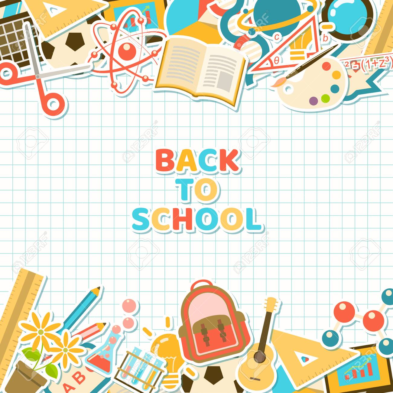 Back to school background with colorful course and school element