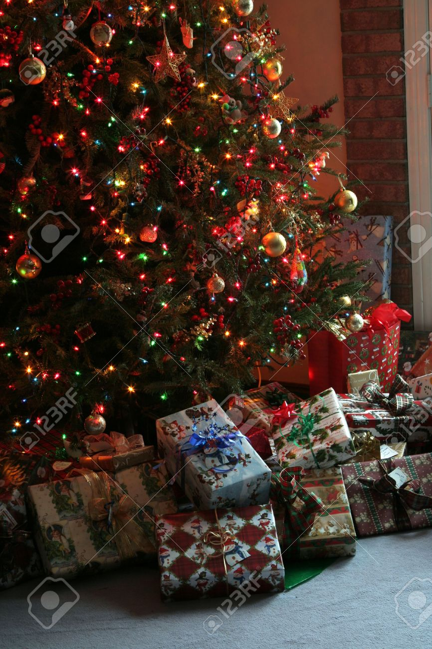Christmas Presents Under Tree.Lots Of Christmas Presents Under The Tree
