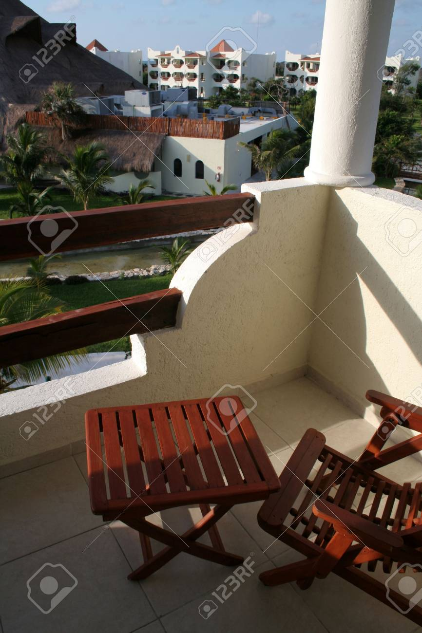 A view from the balcony of a tropical suite at a resort. Stock Photo - 2839896
