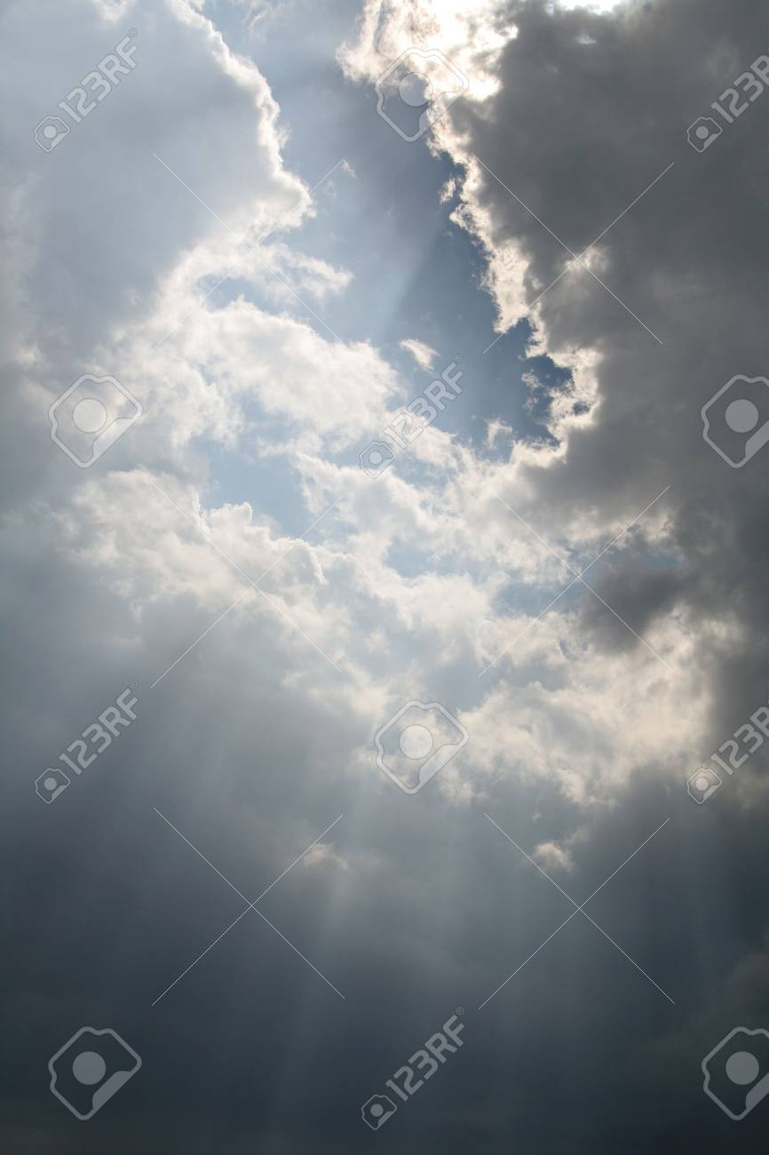 Beams of sunlight bursting through the clouds. Stock Photo - 2986570