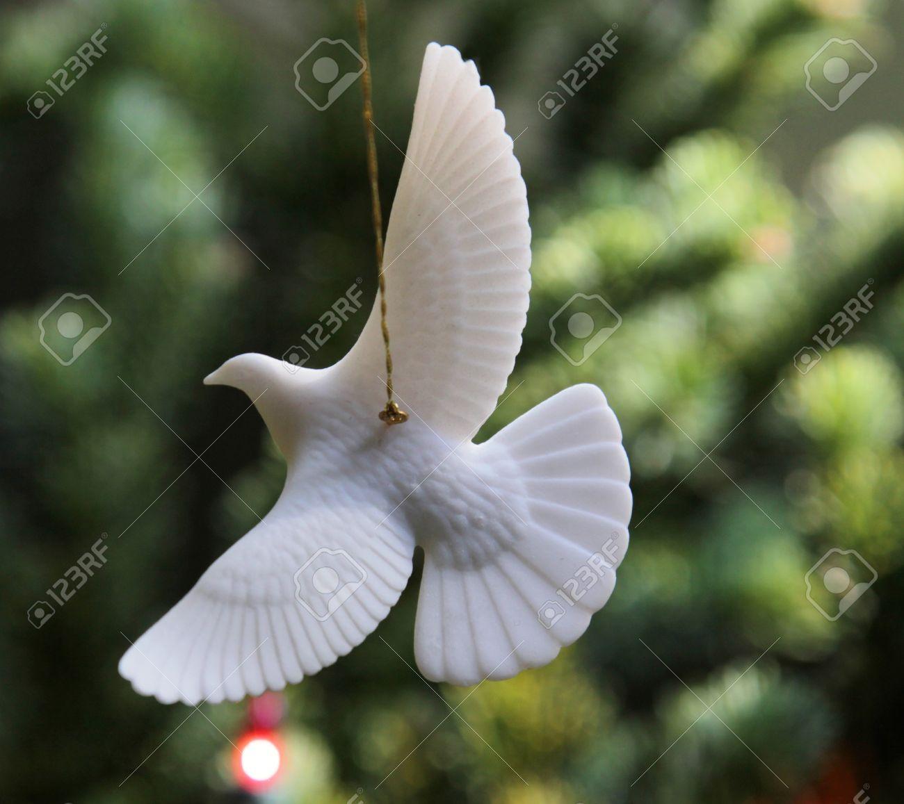White dove christmas ornaments - A Turtle Dove Christmas Ornament Hanging From A Christams Tree Stock Photo 11429636