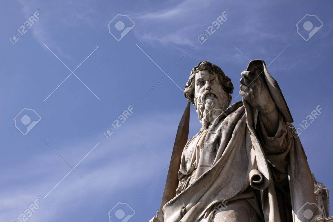 A statue of St. Paul backed by blue sky, Vatican City, Rome. Stock Photo - 12017237