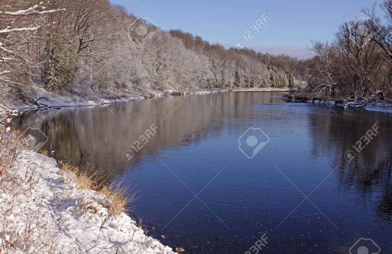 The Grand River With Snow Covering The Banks. Shot In Kitchener ...