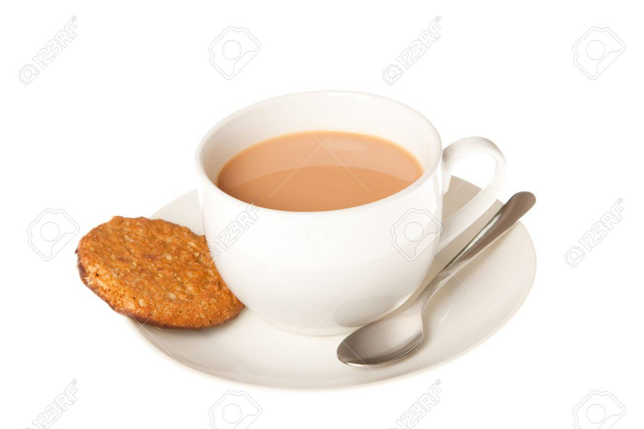 A cup of tea with chocolate oaty biscuits on the side Stock Photo - 14959923