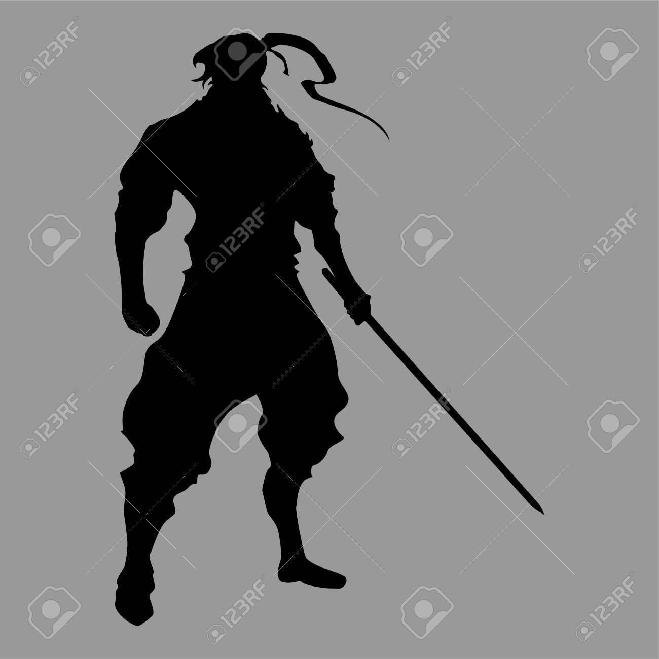 A Samurai Silhouette Warrior Sword Ninja Japanese Katana On A
