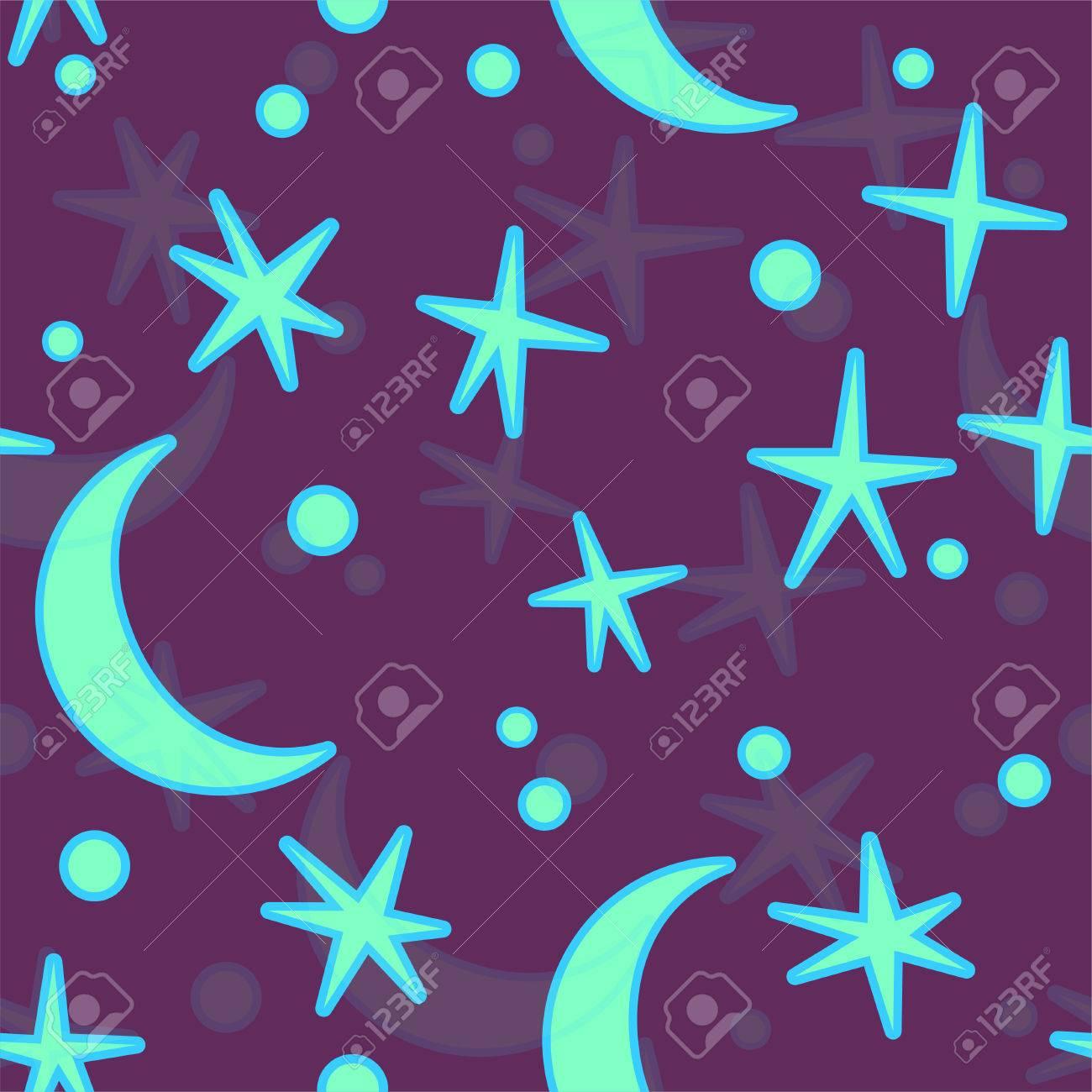 Ciel De Nuit De Bande Dessinée Avec Des étoiles De Lespace Et De La Lune Pour La Conception Dans Les Enfants Ou Le Style De Bébé Illustration