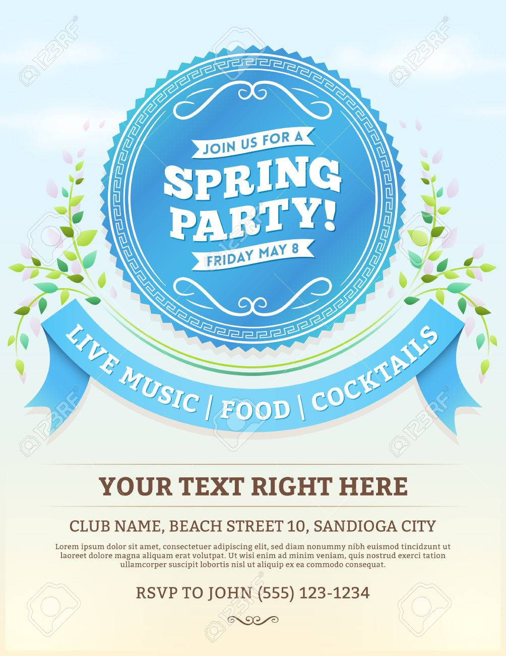 Vector spring party invitation with blue ribbons and summer leaves vector vector spring party invitation with blue ribbons and summer leaves on a bright blue sky copy space at the bottom stopboris Choice Image