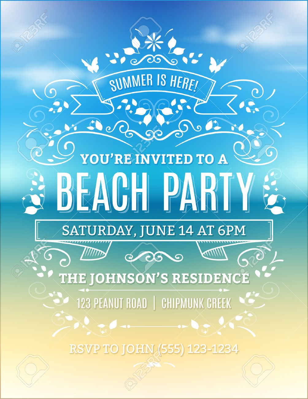 beach party invitation with white ornaments and ribbons on a
