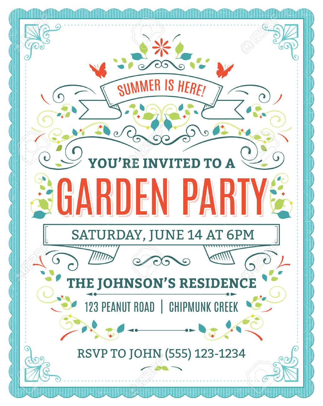 Vector garden party invitation with ornaments and ribbons royalty vector vector garden party invitation with ornaments and ribbons stopboris Images