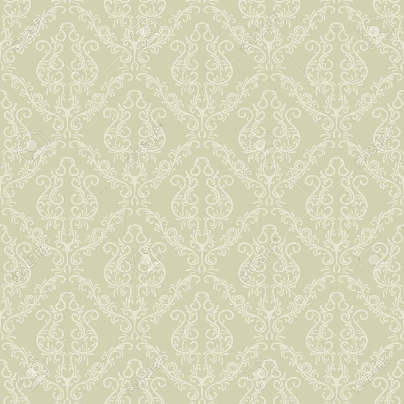 Seamless Vintage Vector Wallpaper Pattern In A Soft Green Color Stock