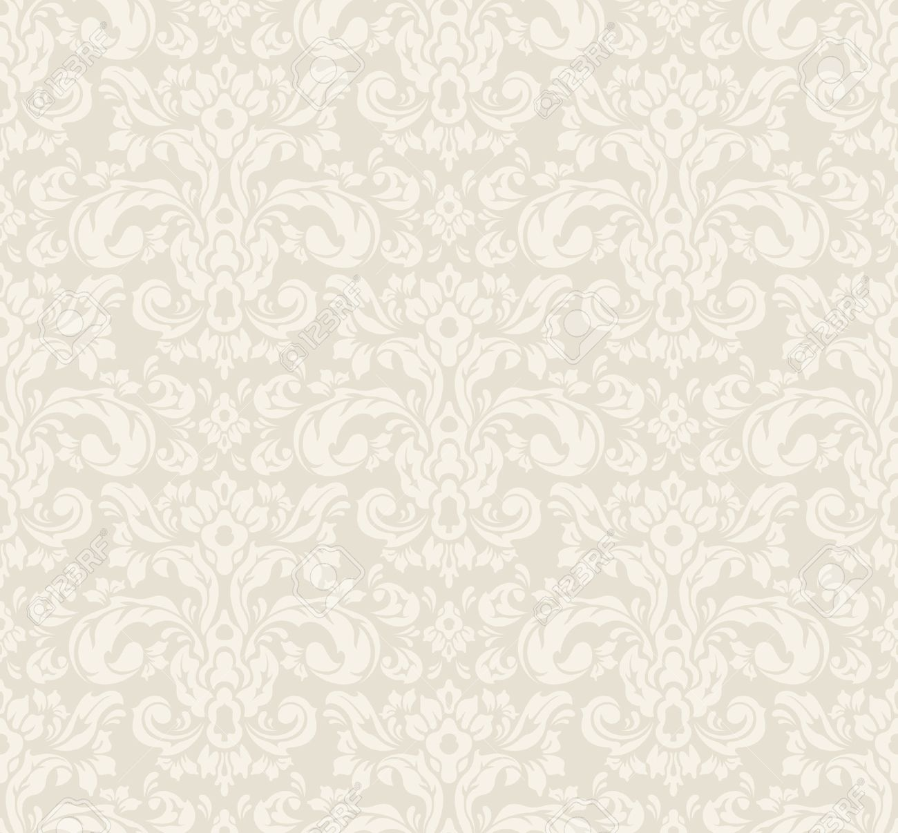 Beige Seamless Vintage Floral Wallpaper Pattern Vector Format