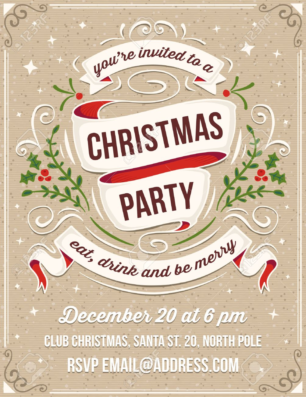 hand drawn christmas party invitation only solid fills used