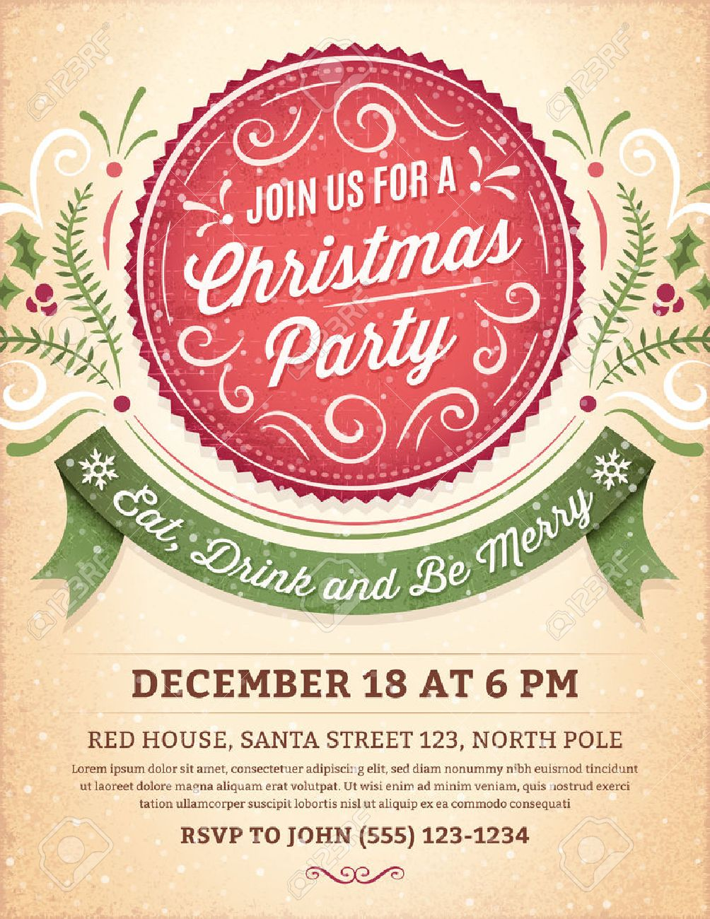 Christmas Party Invitation With Ornaments, Label And Ribbon. Royalty ...