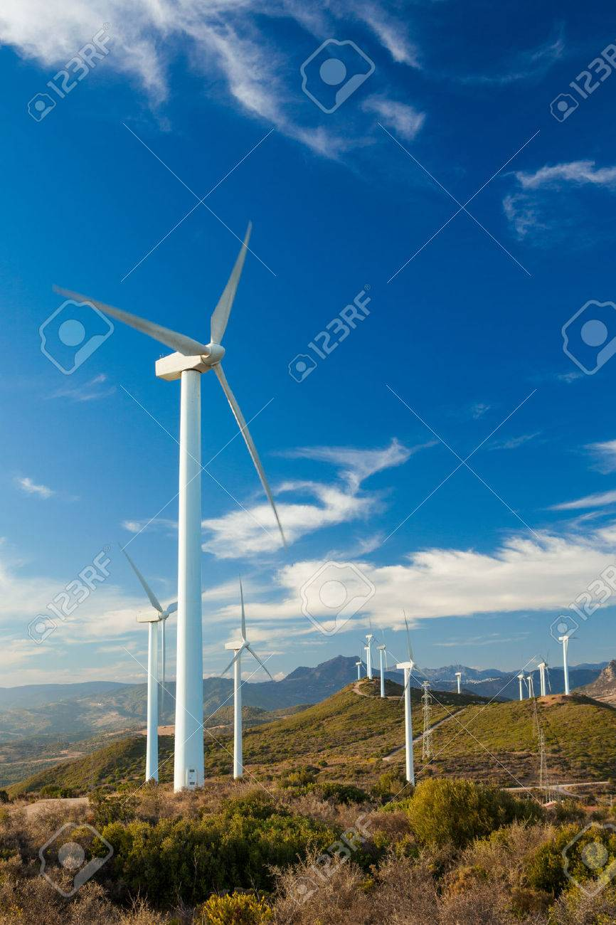 Wind Turbines generating electricity on a remote hillside in Spain - 48777641