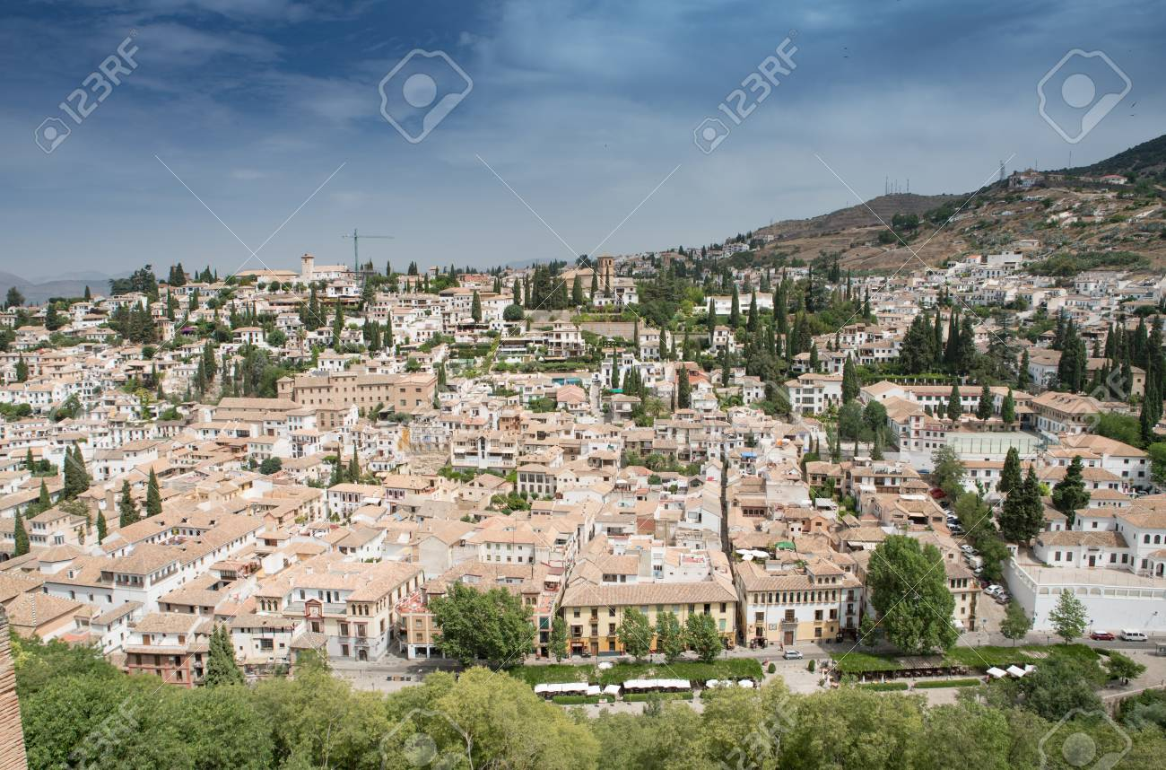 View of Granada Old Town from the Alhambra Palace and fortress