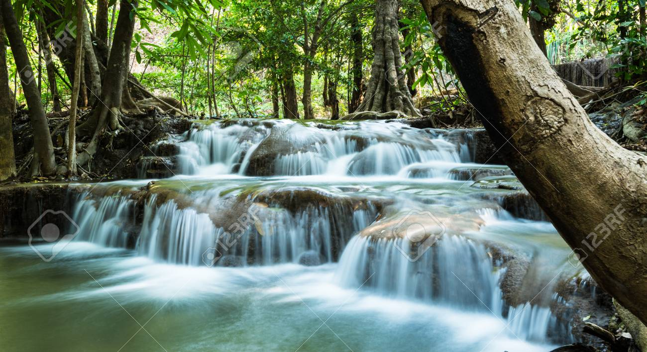 Huay Mae Khamin Waterfalls, Sri Nakarin National Park, Kanchanaburi province, Thailand Stock Photo - 27156920