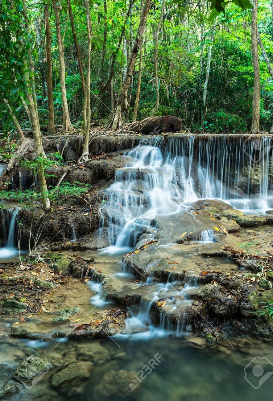 Huay Mae Khamin Waterfalls, Sri Nakarin National Park, Kanchanaburi province, Thailand Stock Photo - 27156929