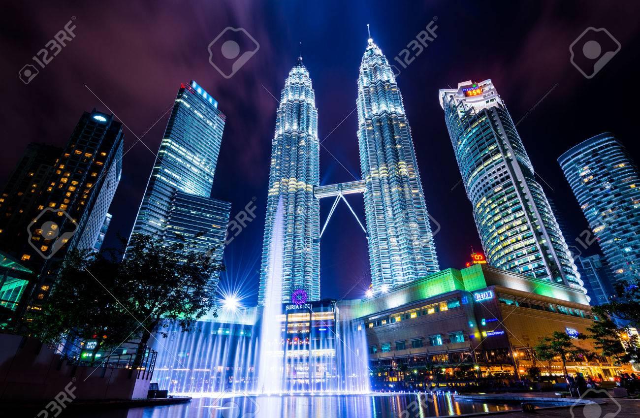 Kuala Lumper, Malaysia - April 08, 2014: KUALA LUMPUR, MALAYSIA - April 08: Petronas Twin Towers at night scene - 32738590