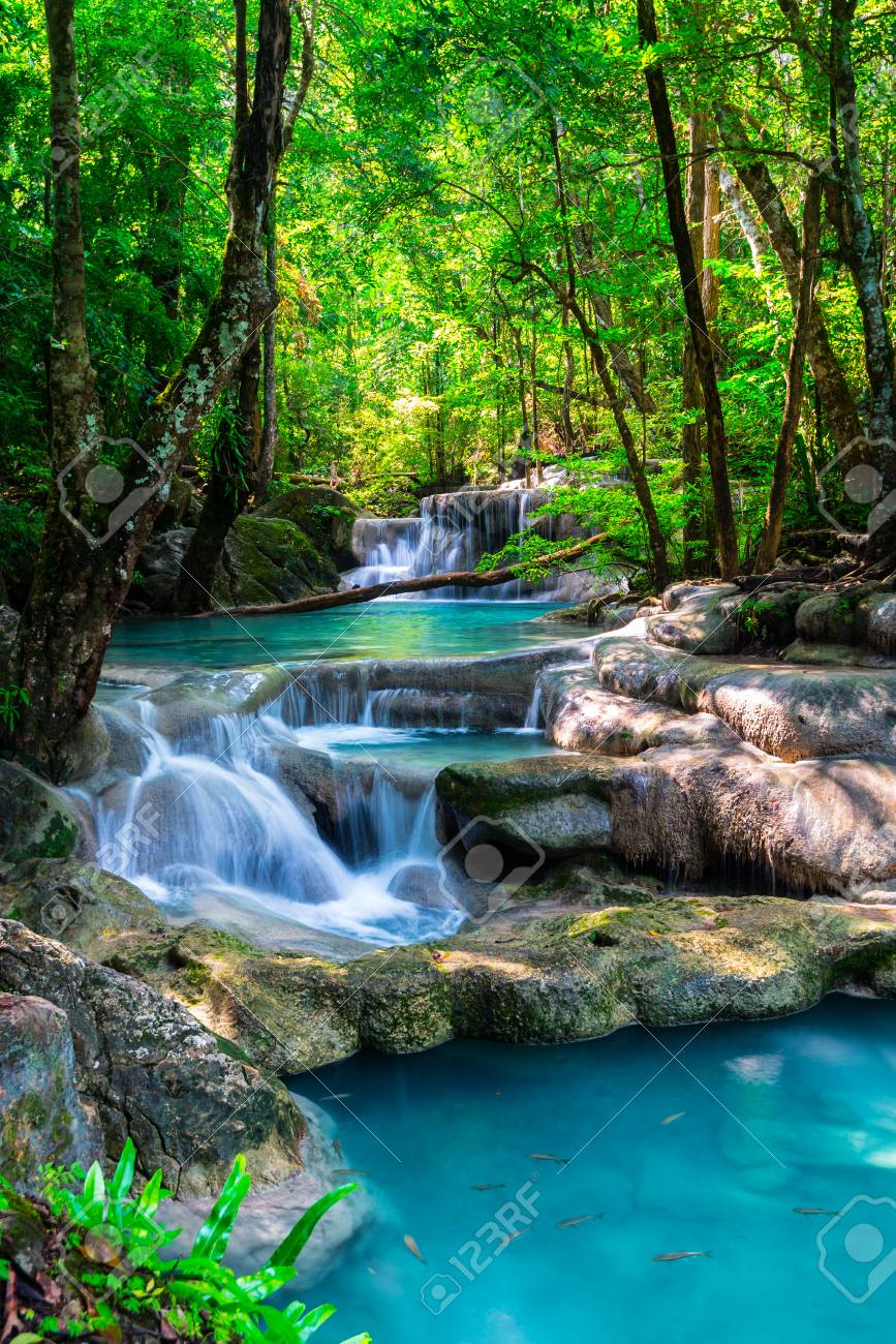 Beautiful waterfall in Thailand tropical forest - 34128744