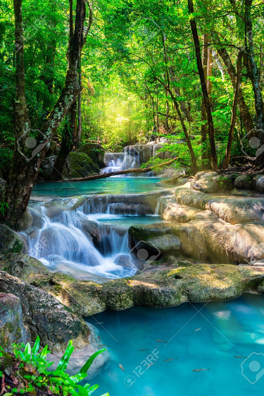 Thailand Nature Background Beautiful Waterfall In Rainforest Stock Image Of Photo