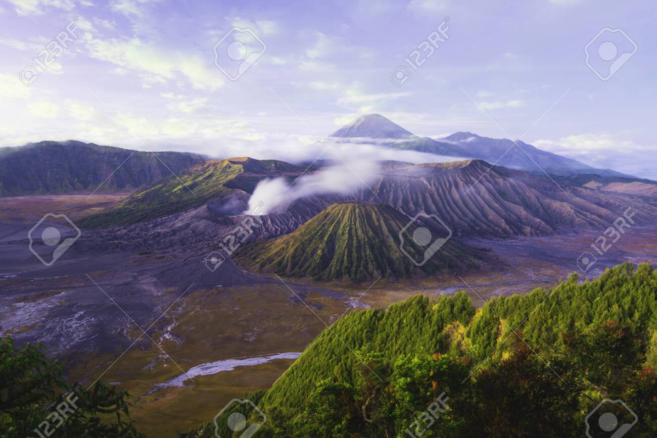 Mount Bromo is an active volcano and one of the most visited tourist attractions in East Java, Indonesia. - 149693807