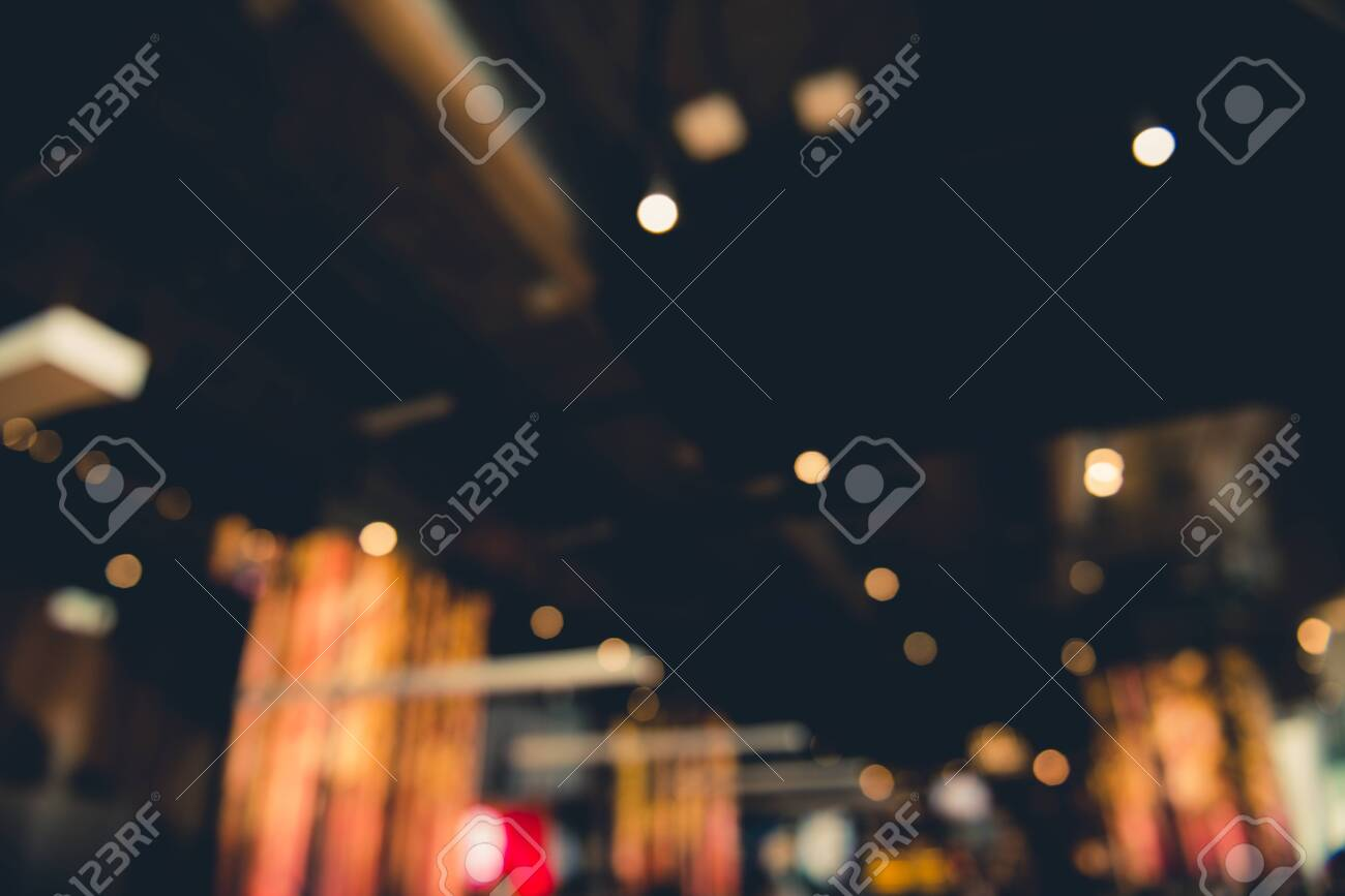 Blurred bokeh of interior decoration with warm colorful lights - 149693756
