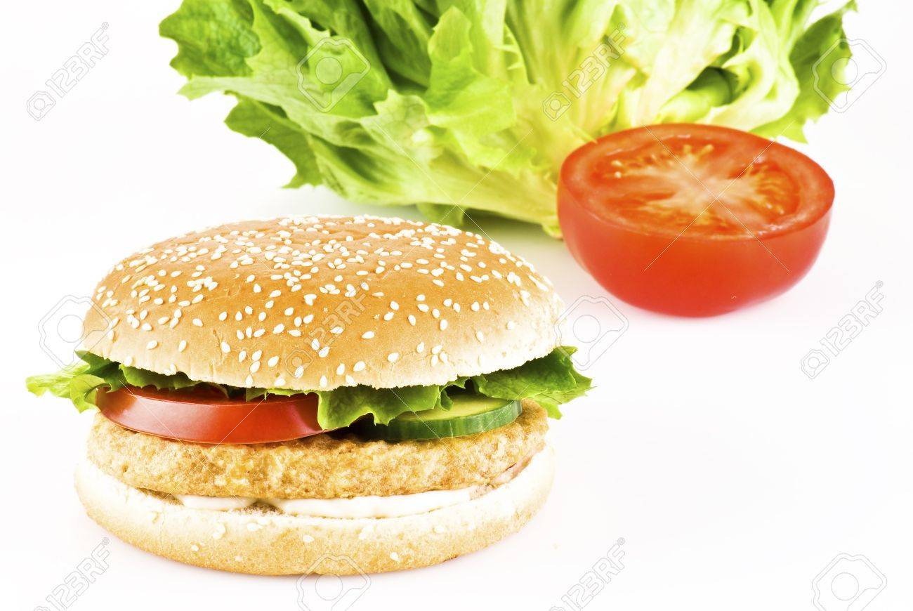Chicken burger with tomato cucumber lettuce and mayonnaise Stock Photo - 9741426