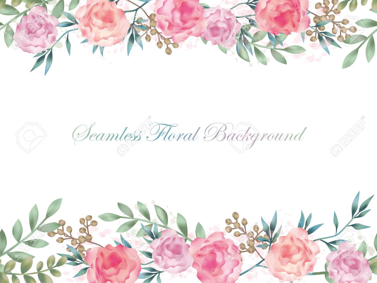 Seamless Watercolor Flower Background Illustration With Text