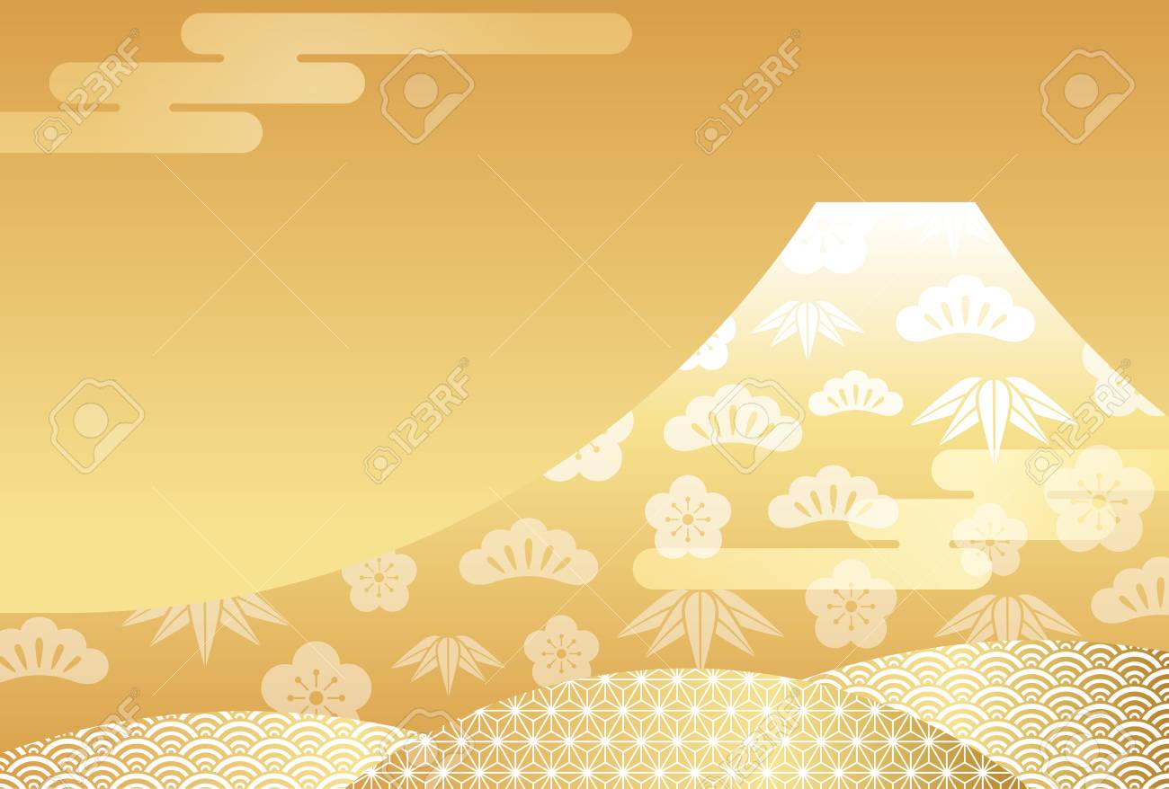 New Year S Card Template With Gold Mt Fuji Vector Illustration