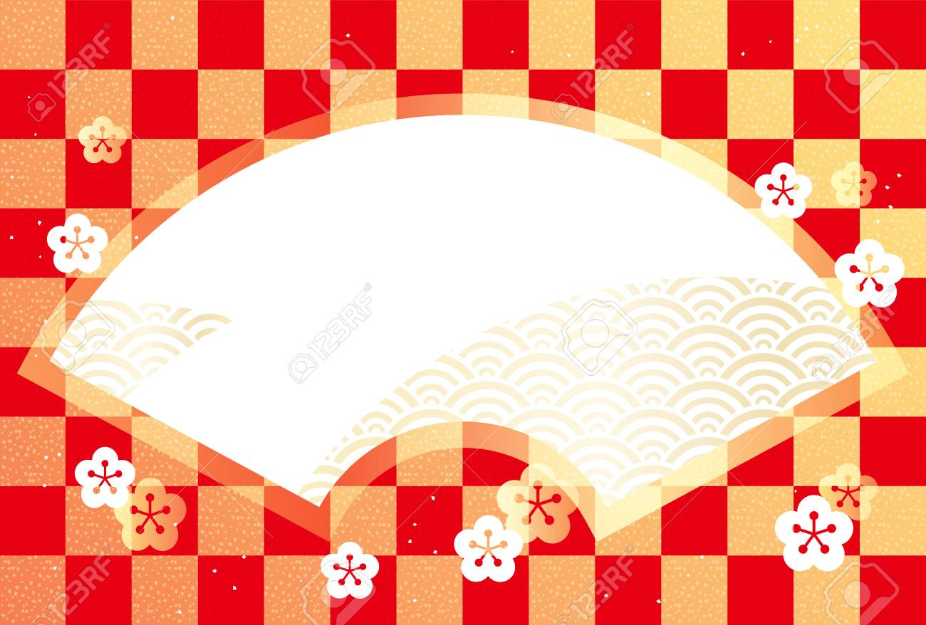 New Years Card Template With Traditional Japanese Pattern And A Fan Shaped Text Space