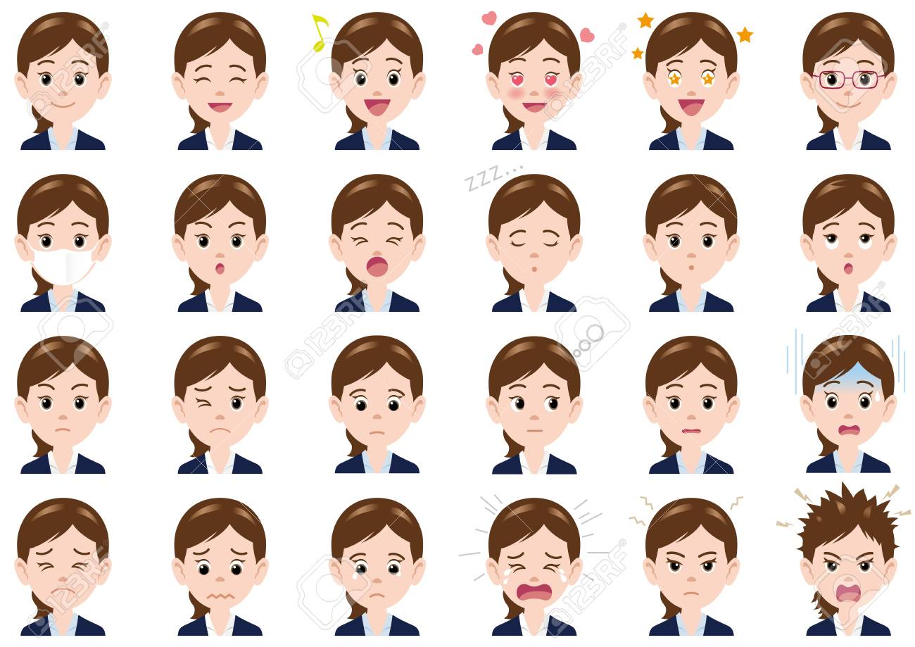 Businesswoman various expressions set. Vector characters isolated on a white background. - 120328469