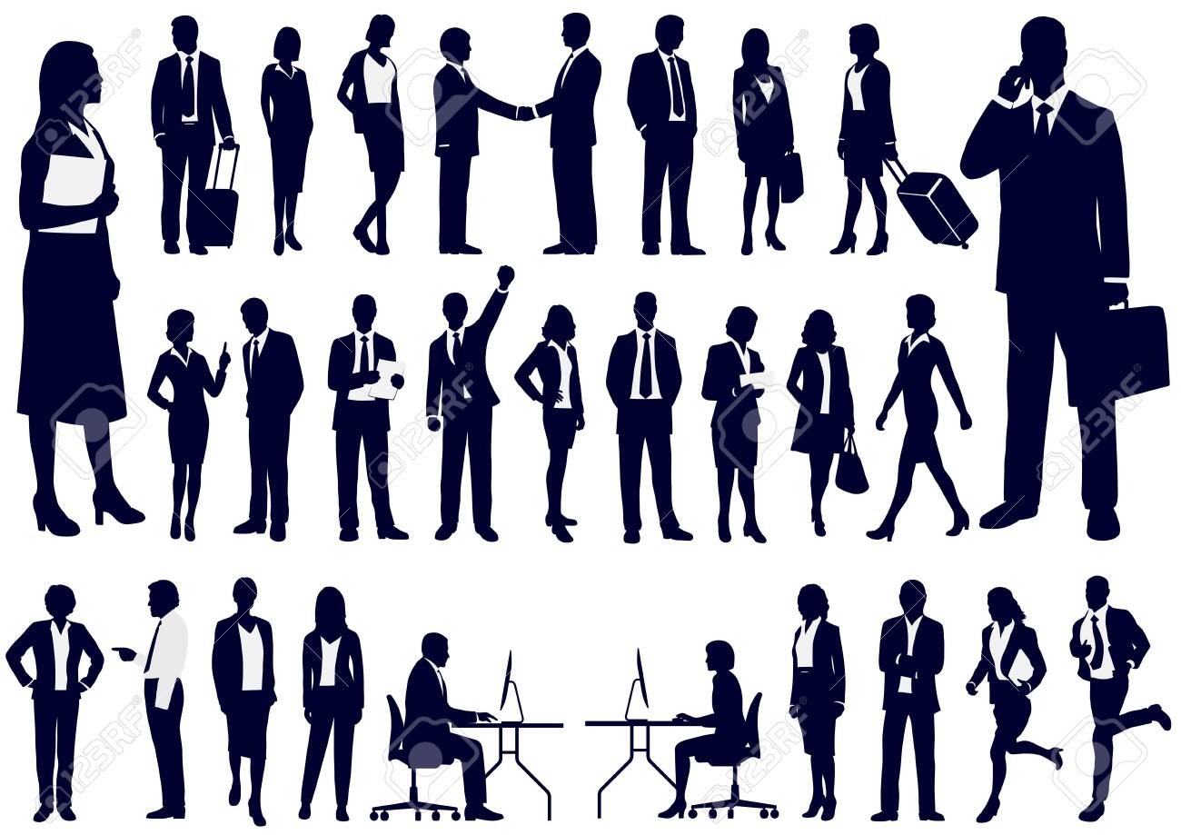 Set + of + Business + people + in + action + silhouettes% 2C + vector + illustration. - 121738806